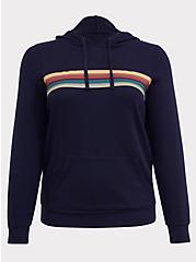 Her Universe Doctor Who Navy Rainbow Stripe Hoodie, PEACOAT, hi-res