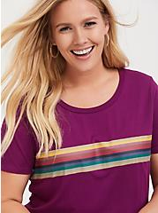 Plus Size Her Universe Doctor Who Burgundy Red Rainbow Stripe Top, MAGENTA PURPLE, hi-res