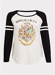 Harry Potter Hogwarts Crest White Football Raglan Top, IVORY  BLACK, hi-res