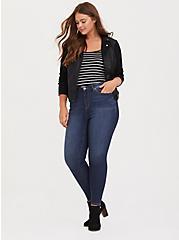 Plus Size Black & White Stripe Scoop Neck Foxy Cami, STRIPES, alternate