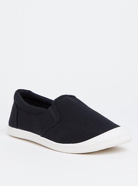 Plus Size Black Cotton-Blend Sneaker (WW), , hi-res