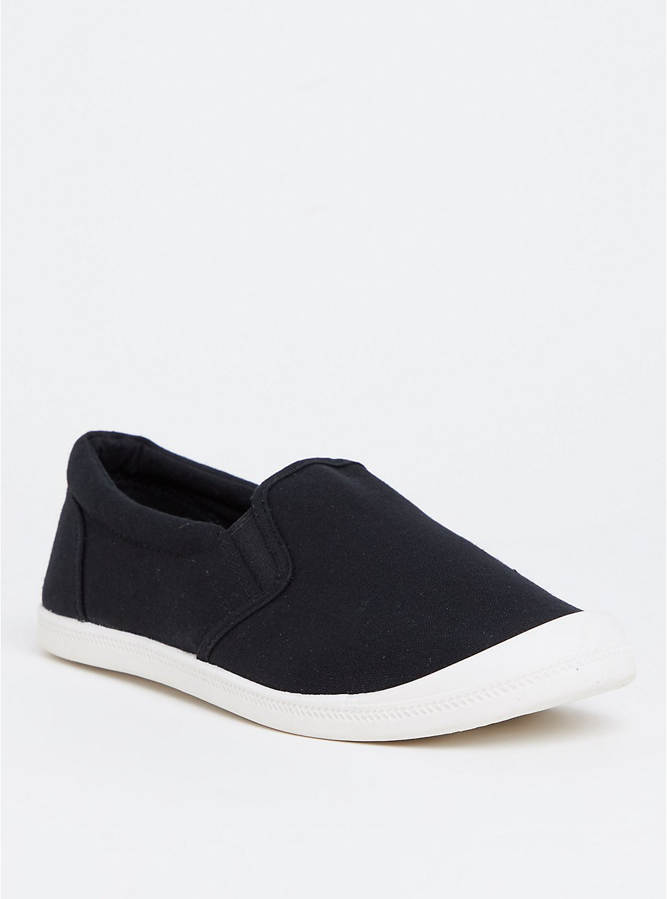 Plus Size Black Cotton-Blend Sneaker (WW), BLACK, hi-res