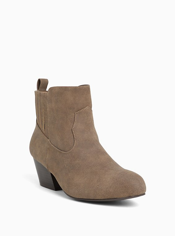 Plus Size Dark Taupe Faux Leather Western Bootie (WW), , hi-res