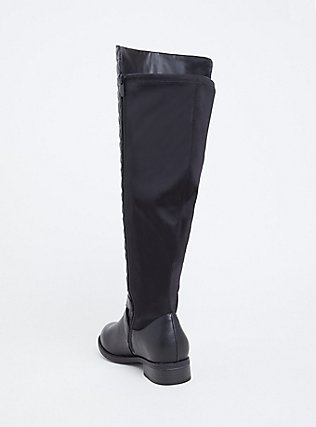 Black Quilted Over-the-Knee Boot (WW & Wide to Extra Wide Calf), BLACK, alternate