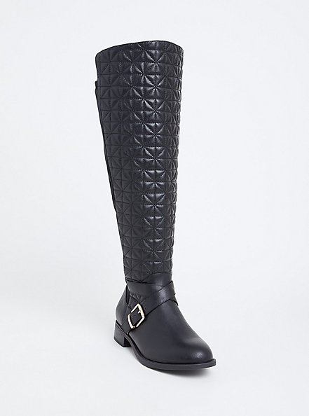Black Quilted Over-the-Knee Boot (WW & Wide to Extra Wide Calf), BLACK, hi-res