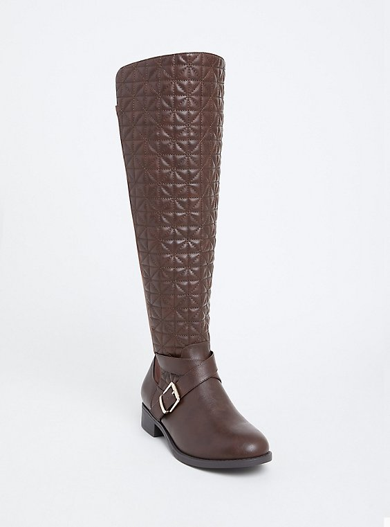 Plus Size Brown Quilted Over-the-Knee Boot (Wide Width & Wide to Extra Wide Width Calf), , hi-res