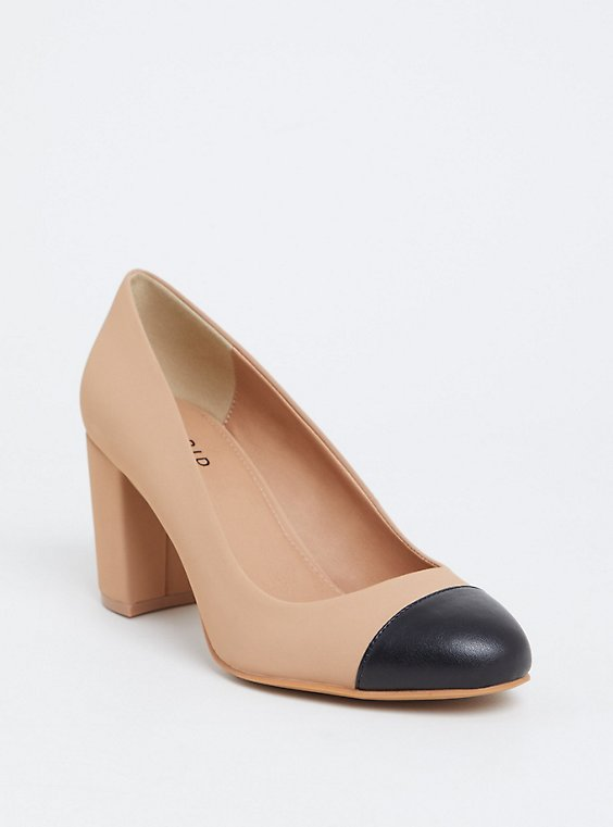 Nude & Black Two-Tone Faux Leather Pump (WW), , hi-res