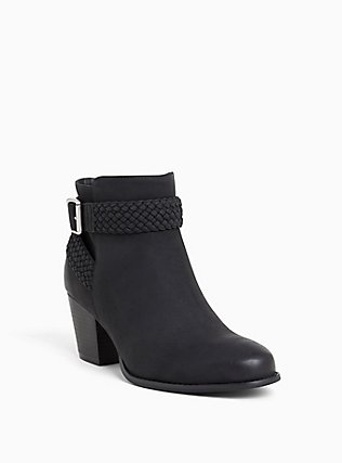 Black Faux Leather Braided Bootie (Wide Width), BLACK, hi-res