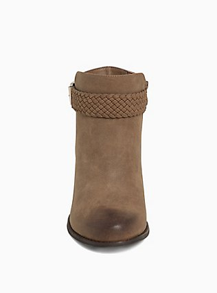 Brown Faux Leather Braided Bootie (WW), BROWN, alternate