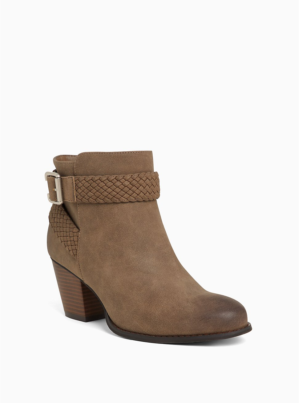 Brown Faux Leather Braided Bootie (WW), , hi-res