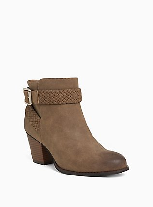 Brown Faux Leather Braided Bootie (WW), BROWN, hi-res