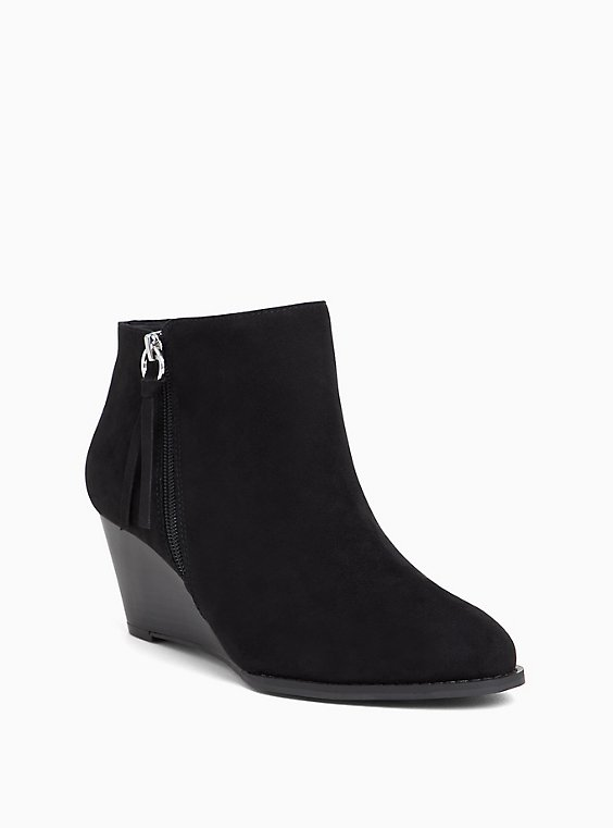 Plus Size Black Faux Suede Wedge Bootie (WW), , hi-res