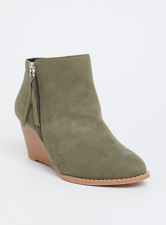 Light Olive Green Faux Suede Wedge Bootie (Wide Width), , hi-res