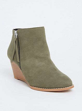 Light Olive Green Faux Suede Wedge Bootie (WW), OLIVE, hi-res
