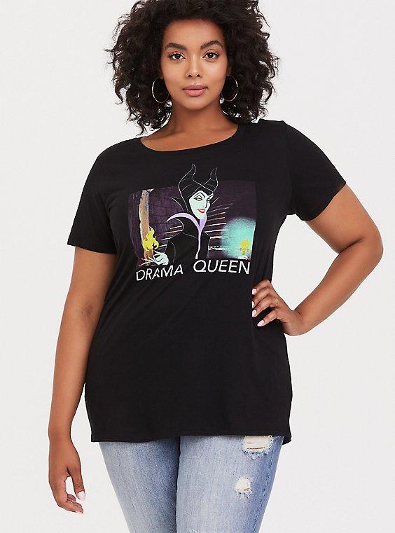 Disney Maleficent Drama Queen Black Crew Top, , hi-res