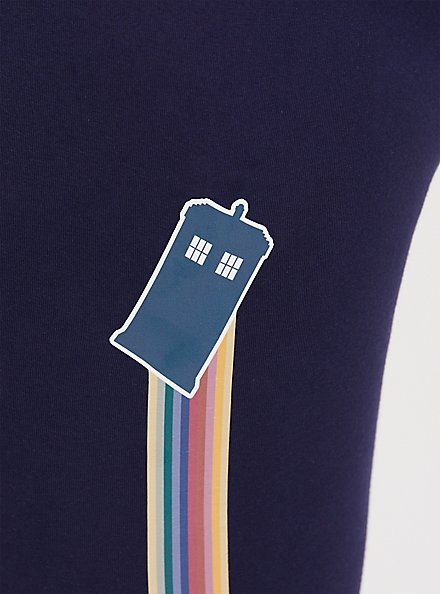 Plus Size Her Universe Doctor Who Peacoat Rainbow Striped Legging, PEACOAT, alternate