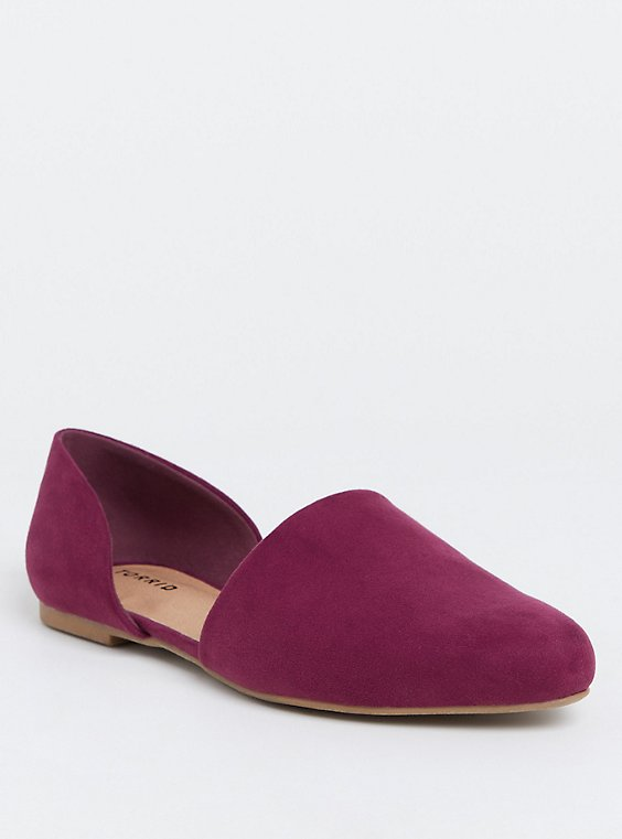 Burgundy Purple D'Orsay Flat (WW), , hi-res