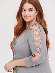 Disney Brave Merida Grey Lattice Sleeve Top, HEATHER GREY, alternate