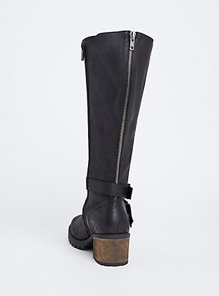Black Faux Leather Moto Knee-High Boot (WW & Wide to Extra Wide Calf), BLACK, alternate