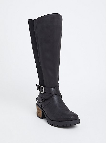 Black Faux Leather Moto Knee-High Boot (WW & Wide to Extra Wide Calf), BLACK, hi-res