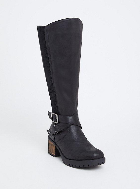 Black Faux Leather Moto Knee-High Boot (WW & Wide to Extra Wide Calf), , hi-res