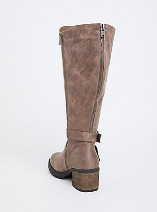 Taupe Faux Leather Lug Sole Knee-High Boot (WW & Wide to Extra Wide Calf), TAN/BEIGE, alternate