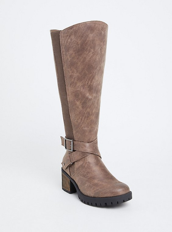 Taupe Faux Leather Lug Sole Knee-High Boot (WW & Wide to Extra Wide Calf), , hi-res