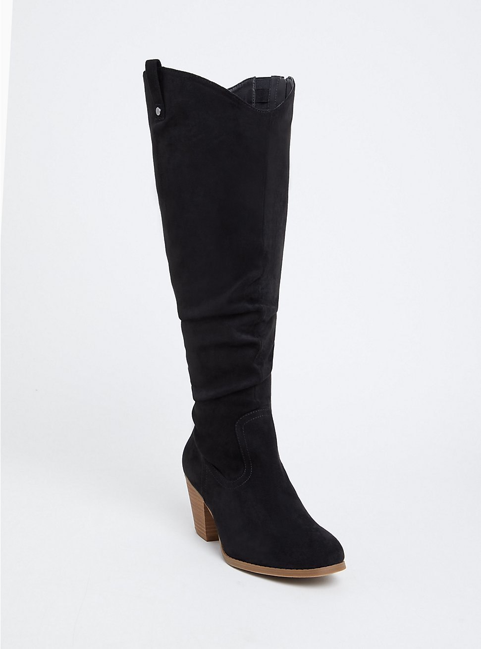 Black Faux Suede Western Knee-High Boot (Wide Width & Wide to Extra Wide Calf), BLACK, hi-res