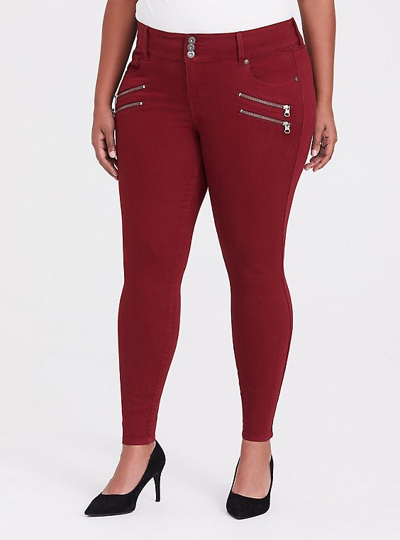 Jegging - Super Stretch Dark Red, , hi-res