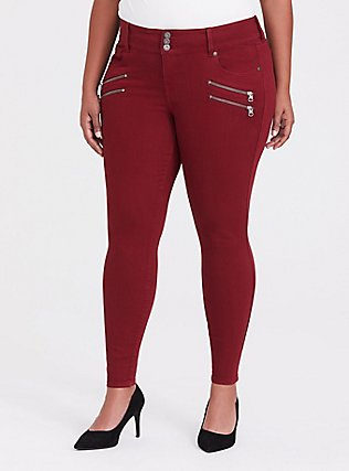 Jegging - Super Stretch Dark Red, RED, hi-res