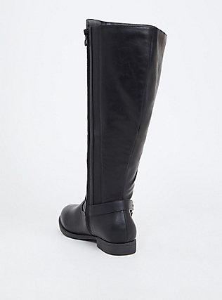 Black Faux Leather Harness Knee-High Boot (WW), BLACK, alternate