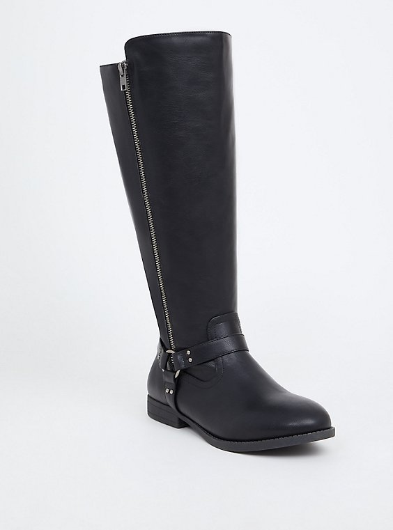 Black Faux Leather Harness Knee-High Boot (WW), , hi-res
