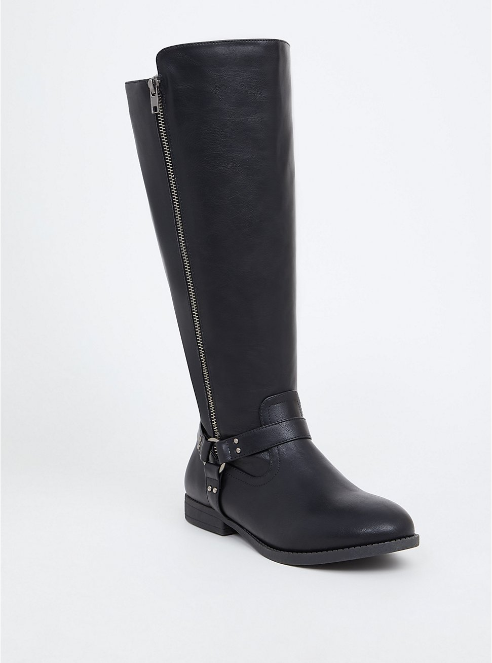 Black Faux Leather Harness Knee-High Boot (WW), BLACK, hi-res