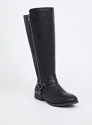 Black Faux Leather Harness Knee-High Boot (Wide Width), BLACK, hi-res