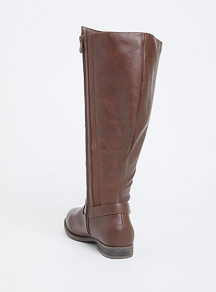 Chestnut Brown Faux Leather Harness Tall Boot (Wide Width), BROWN, alternate