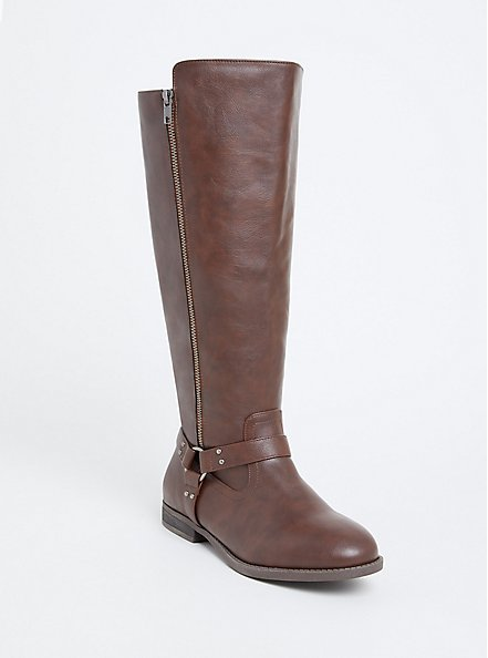 Chestnut Brown Faux Leather Harness Tall Boot (Wide Width), BROWN, hi-res