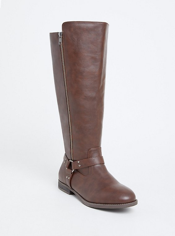 Chestnut Brown Faux Leather Harness Tall Boot (Wide Width), , hi-res