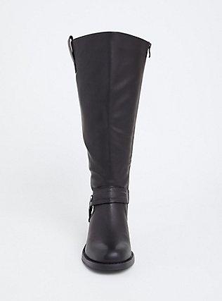 Black Faux Leather Knee-High Boot (WW), BLACK, alternate