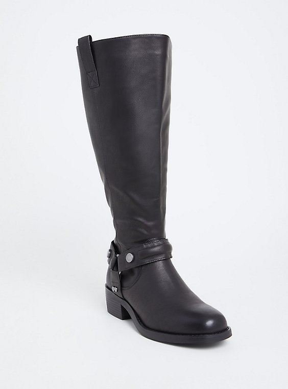 Plus Size Black Faux Leather Knee-High Boot (Wide Width), , hi-res