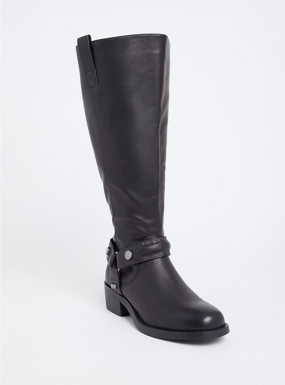 Plus Size Black Faux Leather Knee-High Boot (WW), BLACK, hi-res