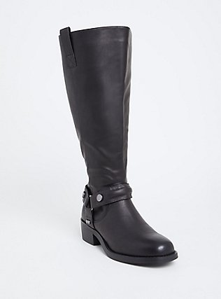 Black Faux Leather Knee-High Boot (Wide Width), BLACK, hi-res