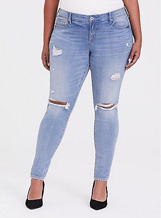Classic Skinny Jean - Vintage Stretch Light Wash, POST UP, hi-res