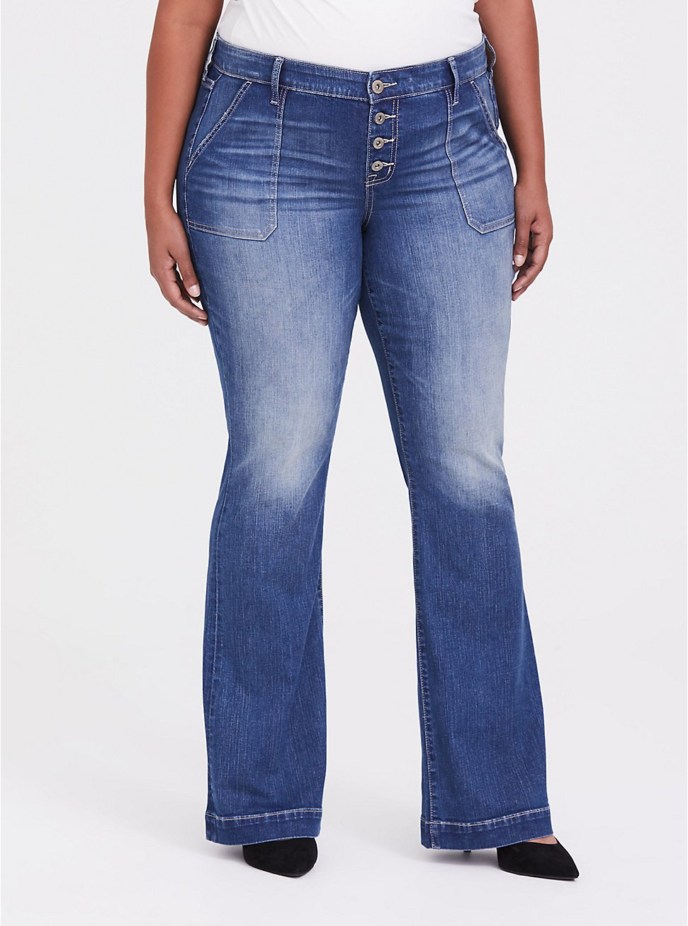 Flare Jean - Vintage Stretch Medium Wash, TWO IN THE BUSH, hi-res