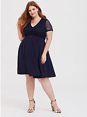 Navy Jersey & Lace Yoke Skater Dress, NAVY, hi-res