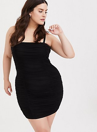 Plus Size Black Mesh Ruched Mini Bodycon Dress, DEEP BLACK, alternate