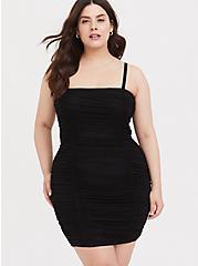 Black Mesh Ruched Mini Bodycon Dress, DEEP BLACK, alternate