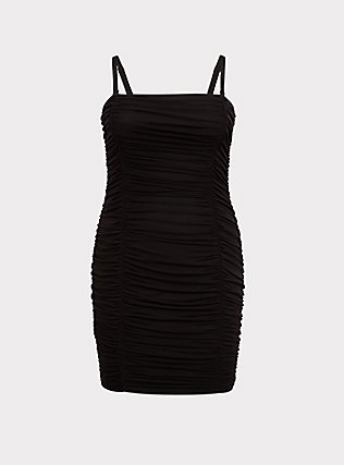 Plus Size Black Mesh Ruched Mini Bodycon Dress, DEEP BLACK, flat