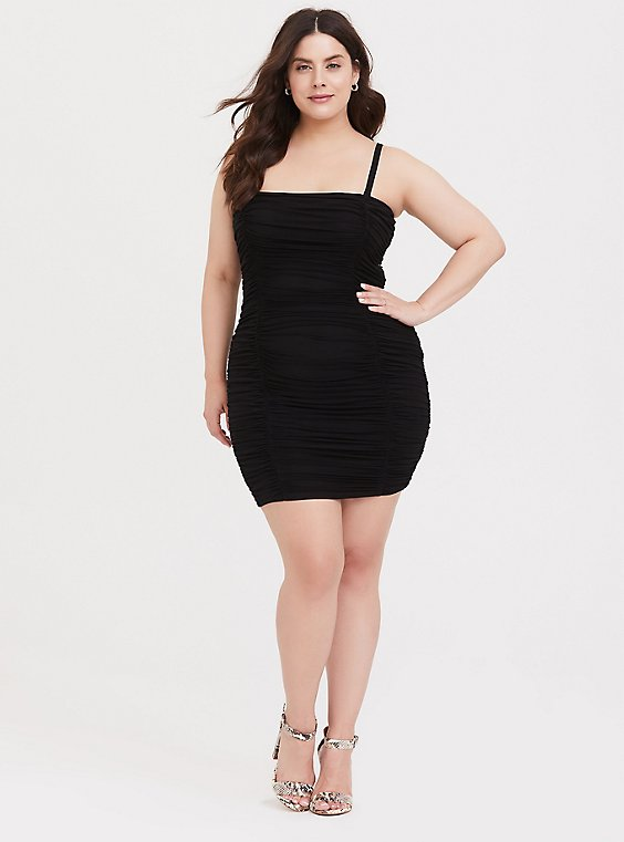 Plus Size Black Mesh Ruched Mini Bodycon Dress, , hi-res