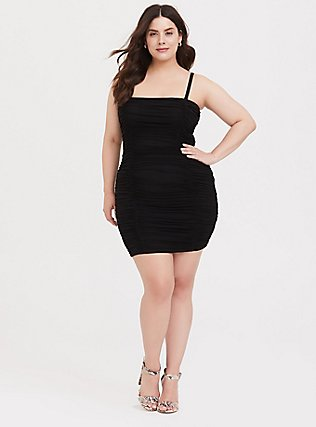 Plus Size Black Mesh Ruched Mini Bodycon Dress, DEEP BLACK, hi-res