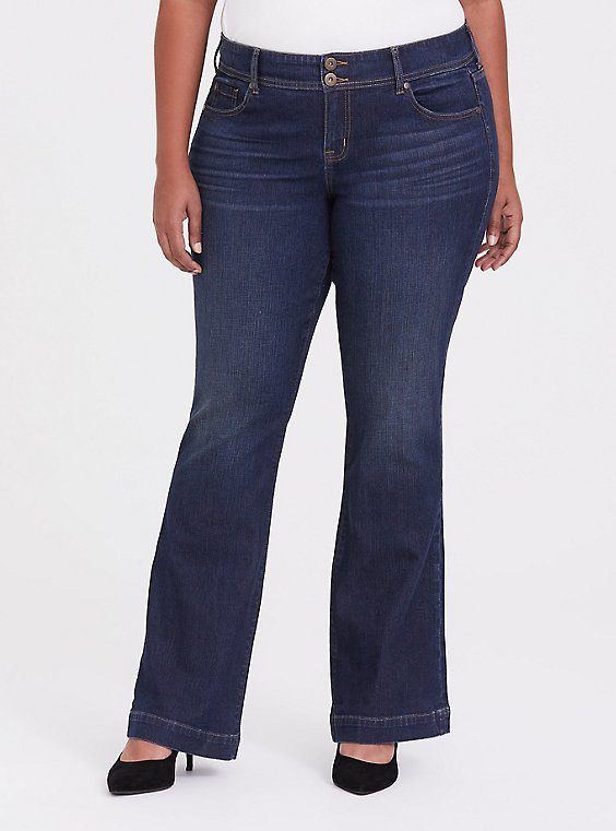 Plus Size Flare Jean - Vintage Stretch Dark Wash, , hi-res